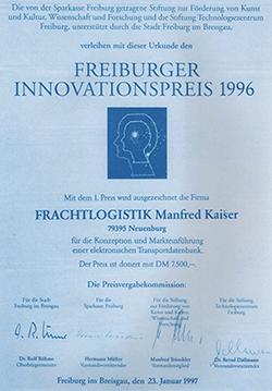 """Innovationspreis 1996"""" der Stadt Freiburg"""